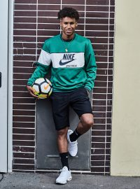 Soccer player Linton Maina with Nike soccer ball