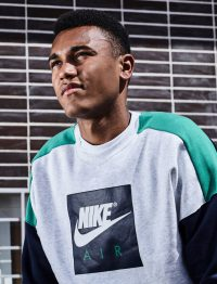 Maurice Malone soccer player and athlete with Nike Sweatshirt