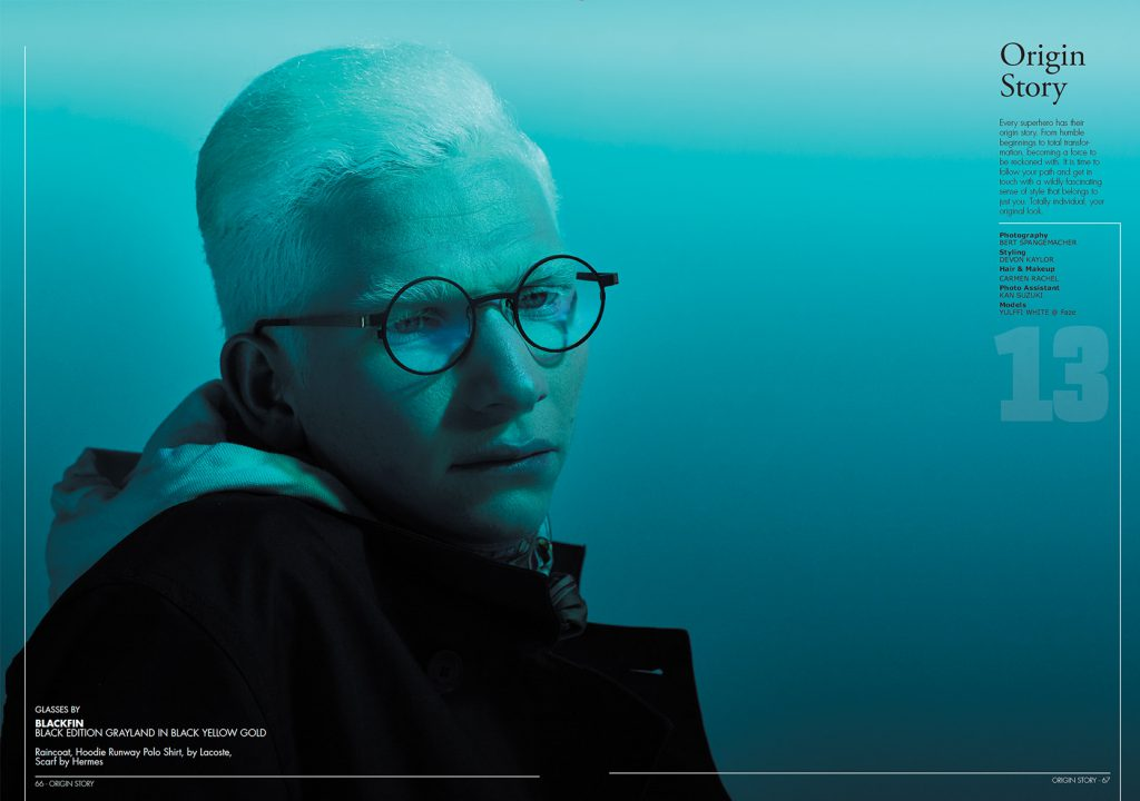 blacken eyewear, black edition grassland on albino male model with short hair