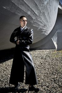 mens fashion editorial long kleather jacket